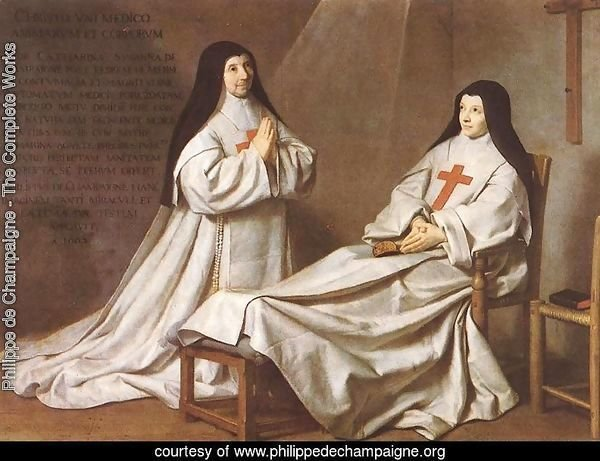 Portrait of Mother Catherine-Agnes Arnauld (1593-1671) and Sister Catherine of St. Suzanne Champaigne (1636-86) the artist's daughter, 1662