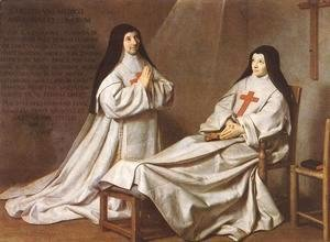 Philippe de Champaigne - Portrait of Mother Catherine-Agnes Arnauld (1593-1671) and Sister Catherine of St. Suzanne Champaigne (1636-86) the artist's daughter, 1662