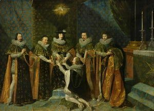 Louis XIII (1601-43) Receiving Henri d'Orleans (1595-1663) Duc de Longueville, into the Order of the Saint Esprit, 1633